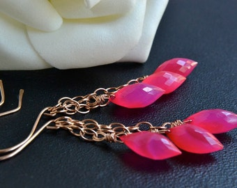 Hot Pink Earrings, Pink Chalcedony, Rose Gold Jewelry, 14K Gold Filled, Cascade Dangle, Handmade