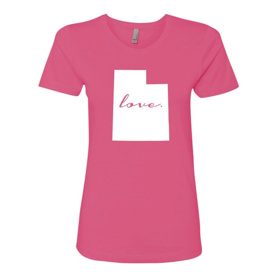 State Love (Cursive) Soft Next Level Ladies' Boyfriend Tee (Hot Pink)