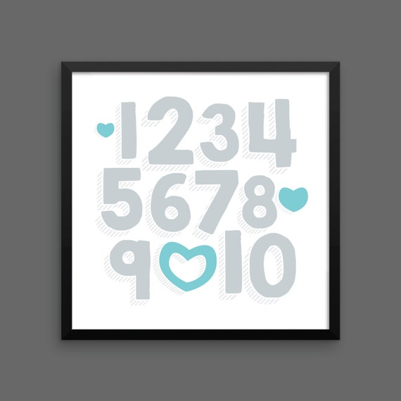 I LOVE YOU (Silver & Turquoise) Framed Number Poster Print - Nursery, Kids Room, Wall Art Modern