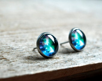 Galaxy stud earrings,Blue green universe earrings,Surgical steel studs,ear stud,small stud,jewelry gift for her, space studs, nebula stud