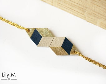 Bracelet, Geometric Leather, Night blue and gold TARA Lily.M