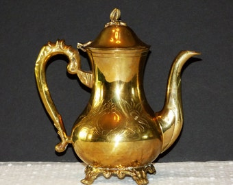 Vintage Solid Brass Flip Top Teapot/Footed Brass Teapot