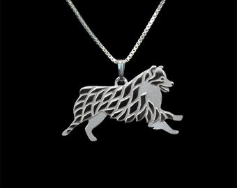 Leaping Australian Shepherd (no tail) - sterling silver pendant and necklace.