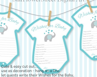Baby Shower Decorations For Boys boy blue baby turquoise decorations wishes for baby elephant gray printable cutout scrapbook