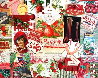 Strawberry Inspiration Kit*Strawberry Ephemera*Vintage Strawberry Paper Pack*Red Inspiration Kit