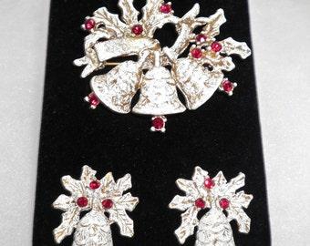 Signed DODDS Vintage Bells Brooch and Earrings Set