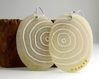 White Polymer Clay Puddle Earrings. Polymer Clay Jewelry. Light Earrings. Gift for Her.