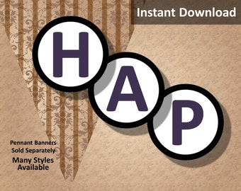 """Dark Purple """"Happy Birthday!"""" Letters Instant Download, Pennant Banner Letters, 3 inch, Black Border, Party Decorations"""