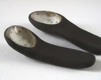 Ceramic Spoon Scoop,  Rustic Handmade Stoneware Pottery, Relish Mustard Jam Preserves