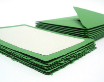 Green and white card and envelope set, handmade recycled paper, 5x7, set of 10