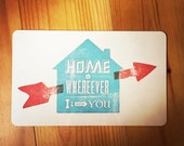 "Cutting board ""home is wherever i am with you"""