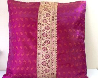 Pink Burgundy & Rust Pillow Cover made with Indian Silk Sari Brocade Pillow Luxurious Pillow Decorative Pillow Cover Sari Cushion Cover