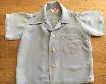 """1940s gray""""silk look""""kids dress shirt"""