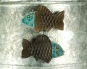 Raku Fish Magnet.  Refrigerator magnet.  Turquoise and black.  Ready to ship.  Free shipping.