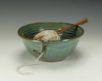 Large Yarn Bowl, Blue/Green, knitting bowl.  Ready to ship.