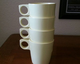 1960's Mistral Melmac Stacking Cups / Mugs Made in Canada