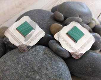 Malachite Earrings Sterling Silver Square Engraved Parallel Bands on Green Gemstone 925 Silver OOAK One of a Kind