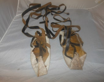 Vintage Deer Hide, child's foot coverings w/ leather lace ups,Hand Made Turned up ends,Long leather lace up the leg,Possibly Native American