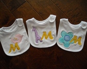 CUSTOM  baby INITIAL  BIB  baby shower gift personalized baby girl one bib