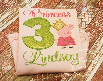 Princess Peppa Pig Birthday Custom Tee Shirt - Customizable -  Infant to Youth 151