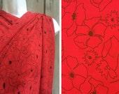 Destash fabric by the yard   Red sheer floral print destash fabric, price is PER YARD