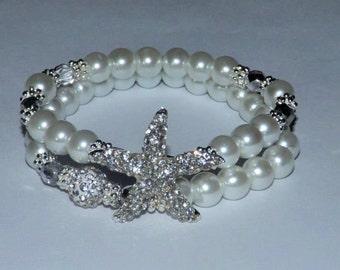 Bridal Bracelet Starfish Bracelet Pearl Crystal Bracelet Bridesmaids Gift beach Wedding Silver Jewelry Bridal Jewelry