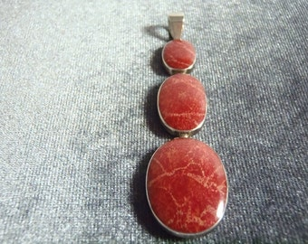 Sterling Silver Red Coral Pendant P119