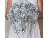Crystal Cascade Brooch Bouquet Silver Bridal Wedding Bouquet Jewelry Broach Gatsby Silver Rhinestone Gift Brides Pearls Bride Brooch Bouquet