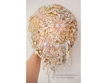 Teardrop Brooch bouquet. Gold wedding broach bouquet,  Cascading Jeweled Bouquet