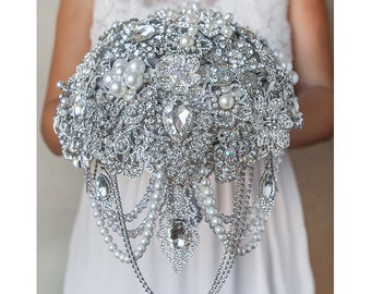 Bridal Bouquet, Brooch Bouquet Wedding Bouquet Broach Bouquet Cascading Bouquet Crystal Bouquet Pearls Bouquet Silver Bouquet Gatsby Bouquet