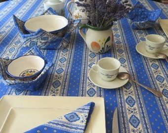 Rectangular Cotton  tablecloth. 100% high quality French cotton.Fabric from  Provence, France. Esterel blue. Matching napkins,runners.