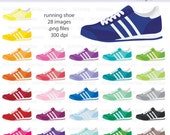 Running Shoe Digital Clipart - Instant download PNG files - Tennis shoe, step tracker, soccer shoe
