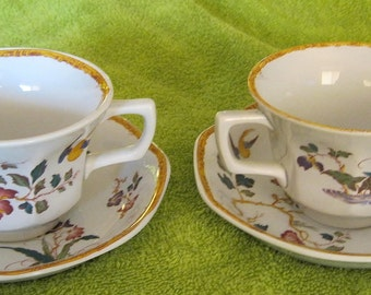 Wedgwood Devon Rose Cups and Saucers PAIR of Sets Made in England Blue backstamp Georgetown Collection