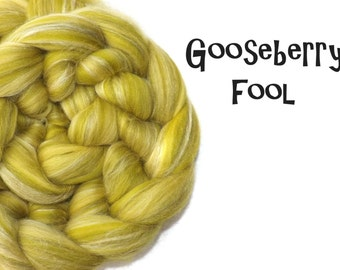 Blended tops - Roving - Spinning wool - Merino wool - Tussah silk - Green - 100g - 3.5oz - GOOSEBERRY FOOL