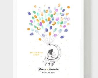 Groom & Bride on the Moon Guestbook, Original Wedding Guestbook, Thumbprint Baloon, Wedding Fingerprints, Hand drawing,  Guestbook, PDF