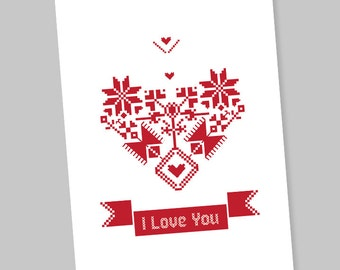 Valentine Card, Instant Download Card, Printable Valentine Card, Boyfriend, Girlfriend, I Love You Card, Valentine Card PDF, Shevitsa Heart