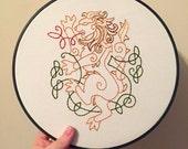 Celtic Lion  hoop art Embroidery Nursery Art Baby's Room Irish Celtic Knot