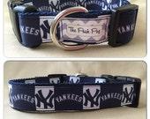 "Handmade NY Baseball #2  1"" Adjustable Dog Collar"