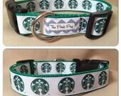 "Handmade Coffee Dog 1"" Adjustable Dog Collar"