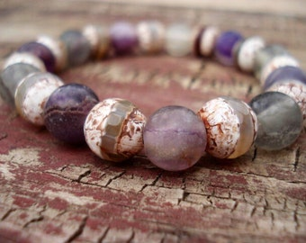 Purple Bracelet, Green Bracelet, Gemstone Bracelet, Unique Handmade Jewelry, Bracelet for Women, Stretch Beaded Bracelet, Trendy Jewelry