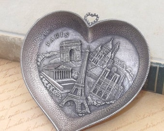Awesome Paris Souvenir Dish, French Decorative Heart Shaped Tray S.A.P. Polyne Made in France, Eiffel Tower
