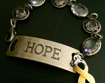 Gold Ribbon Hope Bracelet - Alveolar Rhabdomy-osarcoma / Childhood cancer awareness / Neuroblastoma / Osteosarcoma