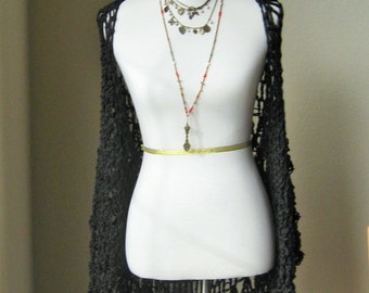 Dark Black Vest Crochet Knit Bohemian Chic Fashion Women Clothing Poncho