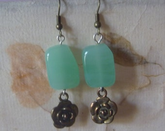 turquoise and bronze floral earrings, ecofriendly dangle earrings