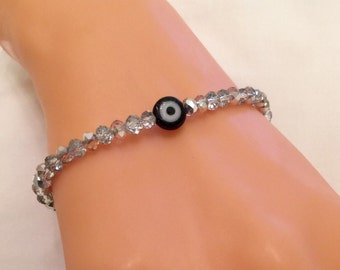 Silver Crystal Bracelet, Evil Eye Bead Bracelet, Silver Jewelry, Best Valentines Day Gifts, Crystal Beaded Bracelet, Good Luck Jewelry