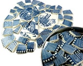 Mosaic Pieces, Broken China Tiles, Jewelry and Craft Supply, Blue and White, Currier and Ives