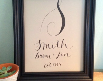 Personalized Wedding Gift: hand drawn name sign for the couple!