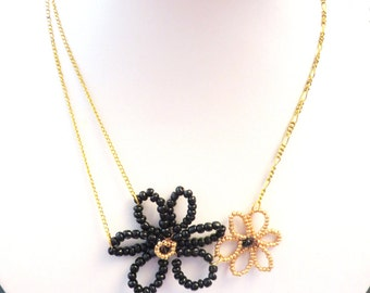 Flower necklace gold-black and gold floral necklace - black - gold necklace - costume jewelry - handmade jewelry - mothers day gift