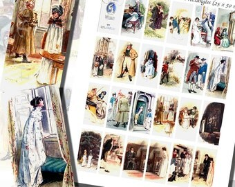 Jane Austen's Northanger Abbey Printables by C.E. Brock, DOMINO SIZE (1 x 2 Inches or 25 x 50 mm), 24 Illustrations Included