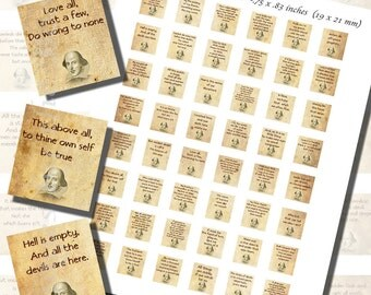 Shakespearean Quotes Printables, SCRABBLE TILE SIZE (.75 x .83 Inches or 19 x 21 mm), 48 Quotes Included